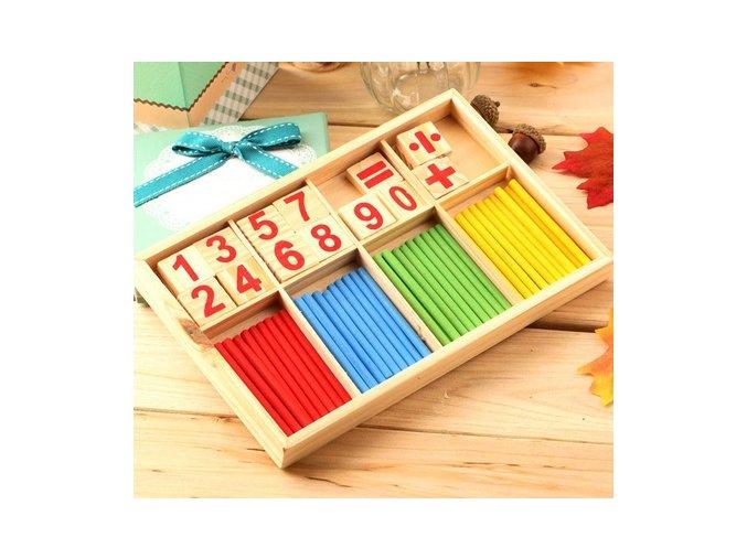 Vzdělávací dřevěná krabička na počítání - Montessori