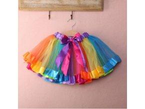 duhová tutu dívčí sukně (Velikost L)