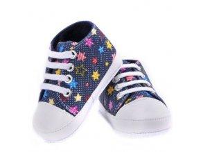 dětské látkové botičky s hvězdičkami (dětská velikost 13)