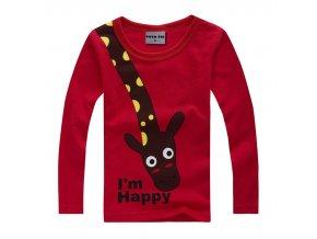 chlapecké triko se žirafou červené (Věk dítěte 7 let)