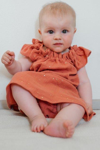 Dětské Mušelínové Šaty Candy Terracotta
