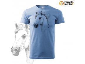 kůň perokresba basic nebesky modrá
