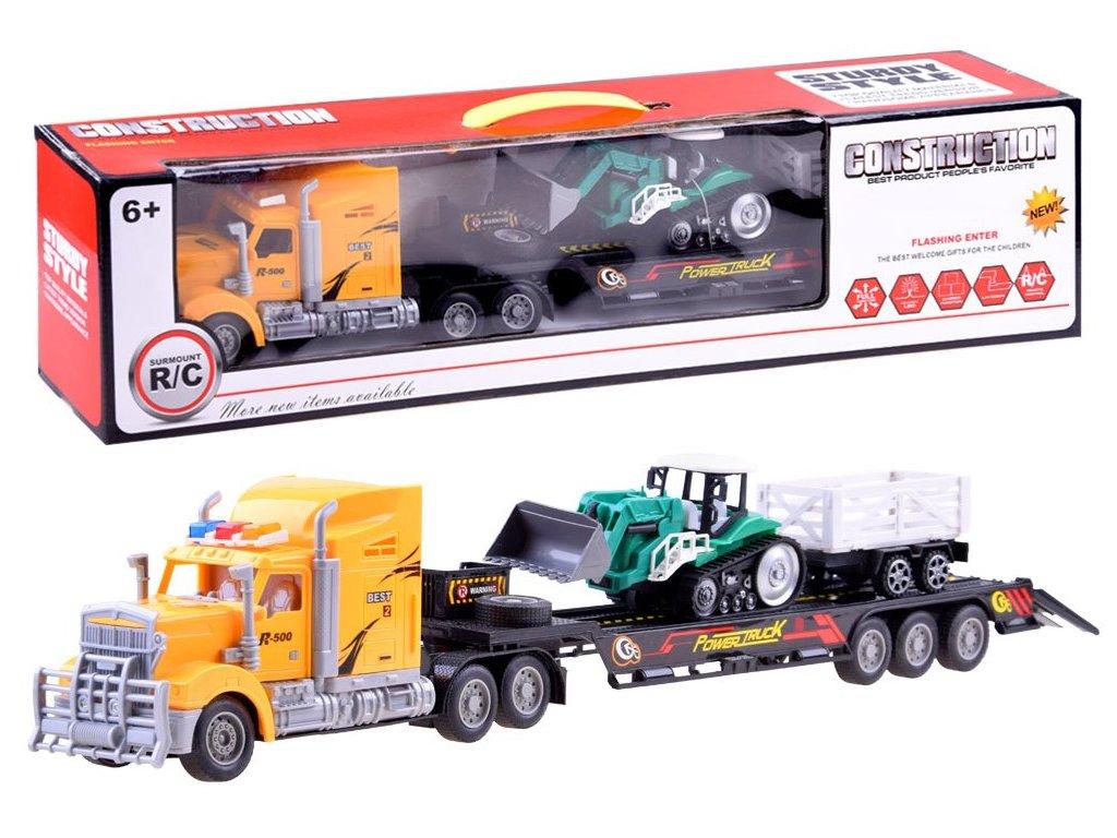 Kamion + traktor s vlečkou na dálkové ovládání žlutý