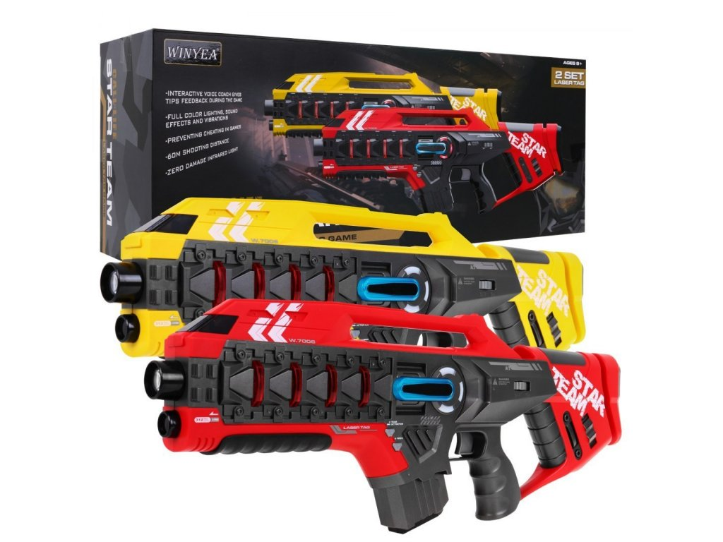 1587 laserove pistole cerveno zlute