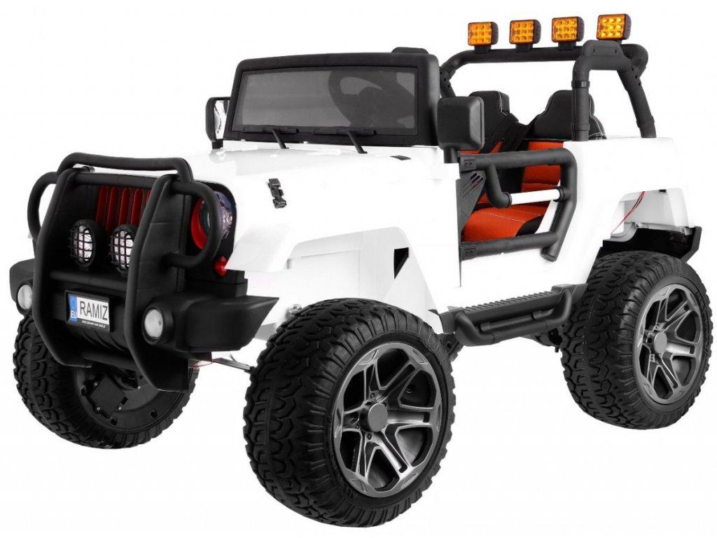 Dětské elektrické auto Monster Jeep 4x4 bílý + batoh 1