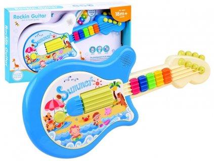 Interaktivní svítící kytara modrá