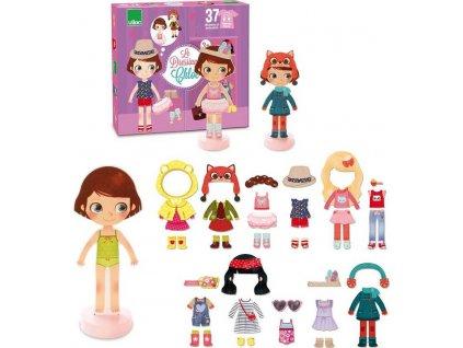 Dřevěné magnetky panenky na oblékání