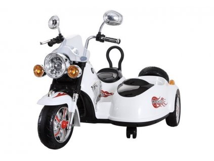 mamido Dětská elektrická motorka Chopper s postranním vozíkem bílá2