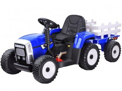 elektrický traktor s vlečkou modrý