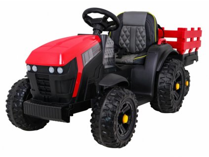 Dětský elektrický traktor Farm s přívěsem červený01