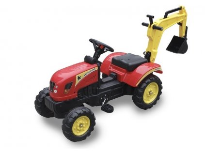Traktor s lopatou červený