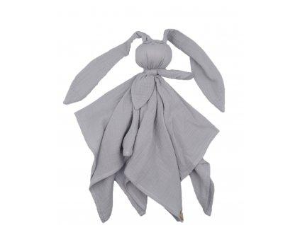 Mušelínový mazlík plenka Hug Me Bunny šedý