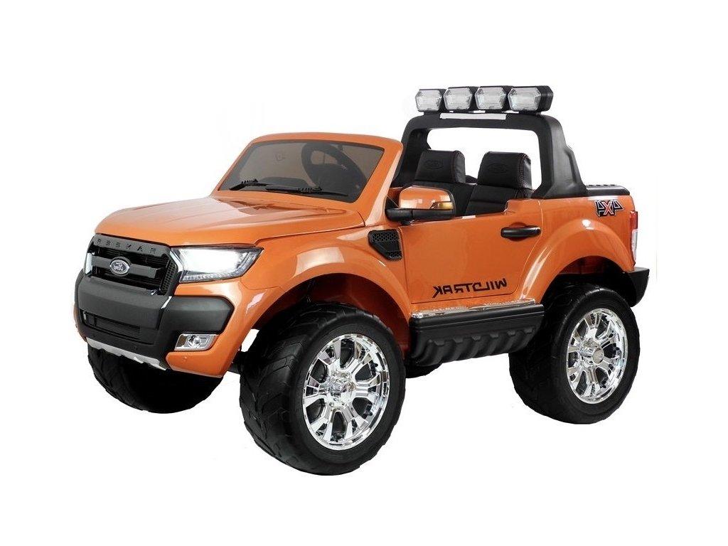 mamido Dětské elektrické autíčko Ford Ranger 4x4 lakované oranžové2