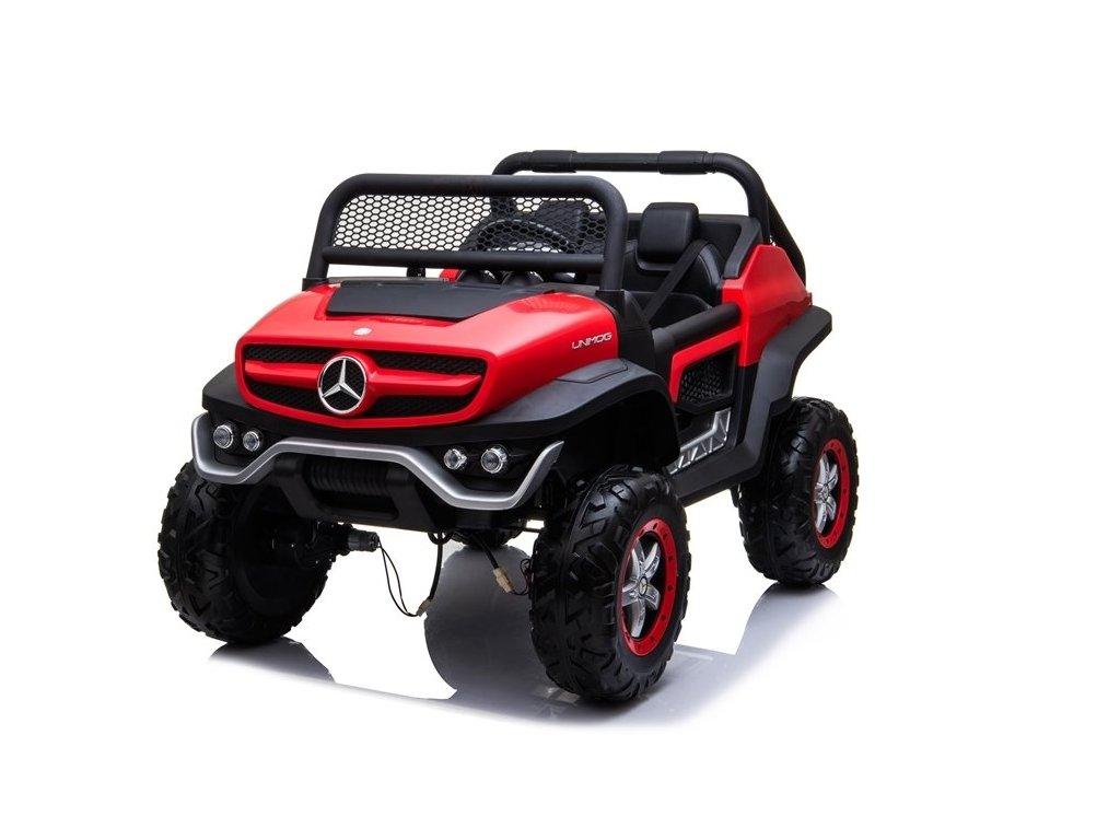 mamido Dětské elektrické autíčko Mercedes Unimog 4x4 červené 1