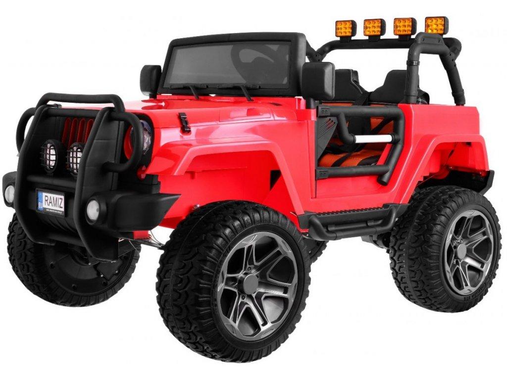 Dětské elektrické auto Jeep Monster 4x4 červený + batoh 1