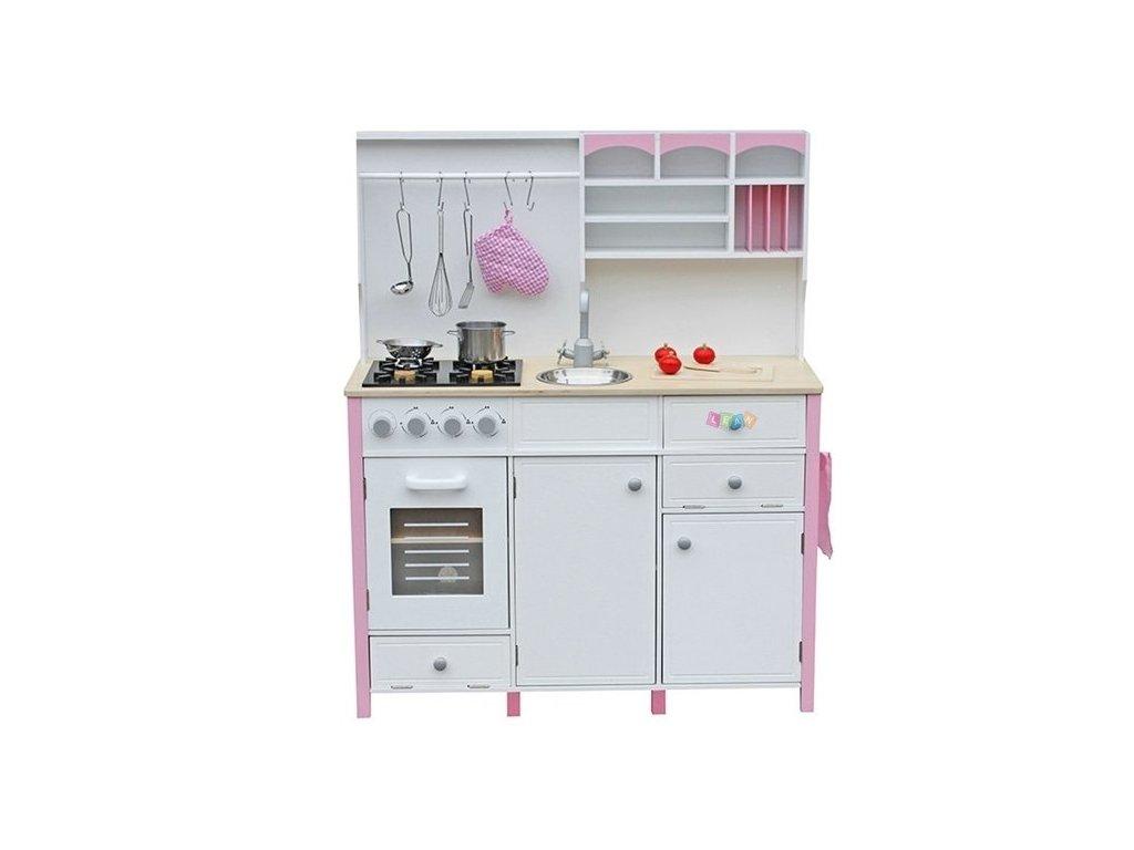 2766 detska drevena kuchyne s troubou a prislusenstvim ruzova