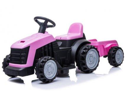 162665 5 detsky elektricky traktor s vleckou ruzovy