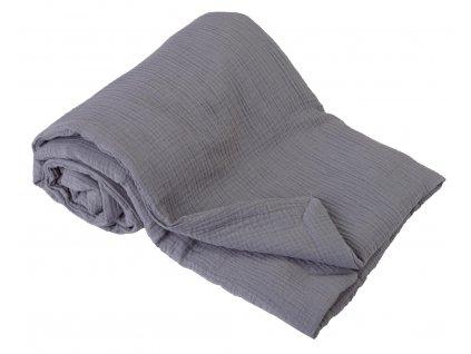 Dětská mušelínová deka šedá
