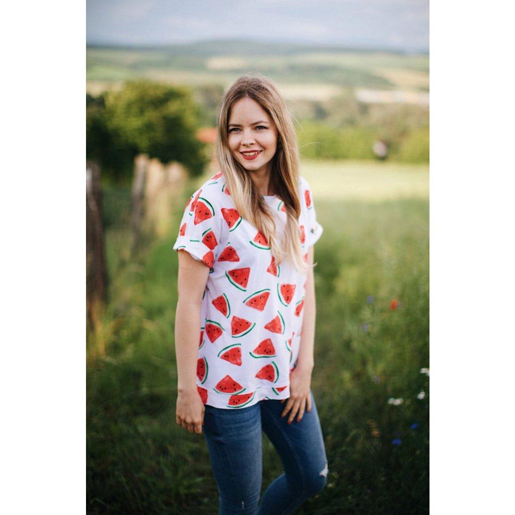 Oversize tričko na dojčenie watermelon