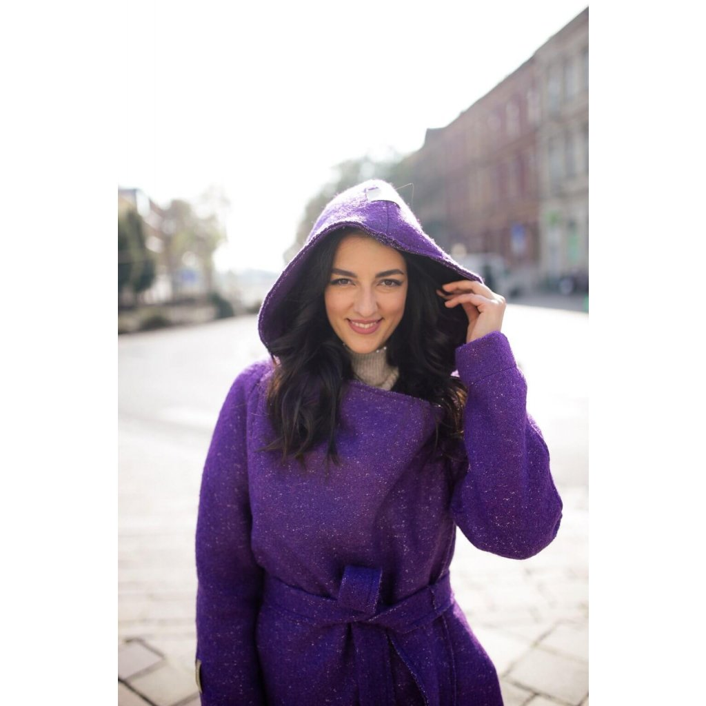 zimny tehotensky kabat hot violet