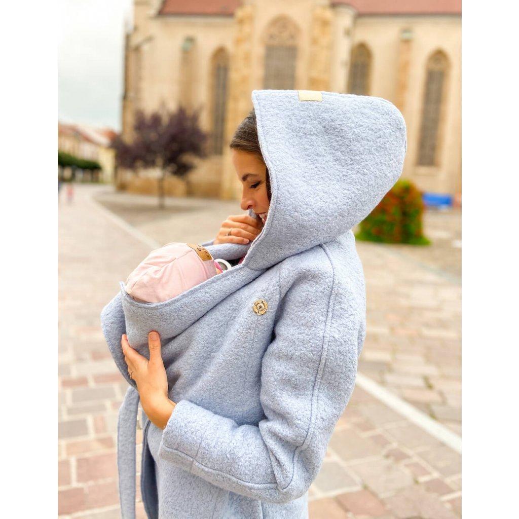 zimny tehotensky kabat pastel grey
