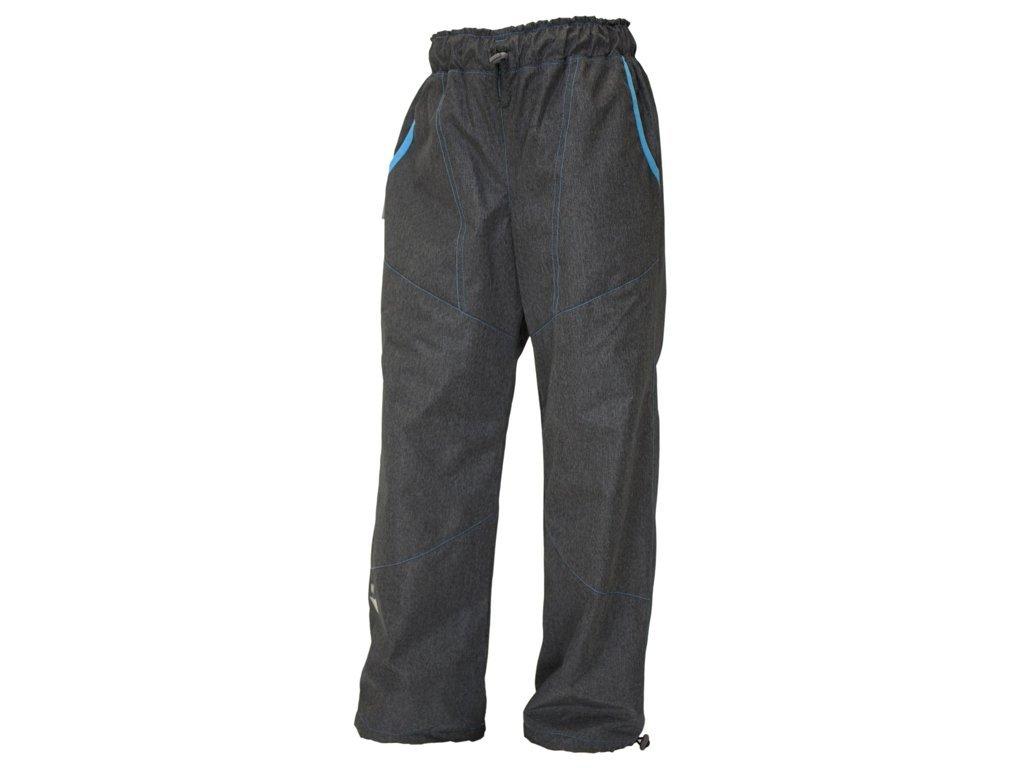 ZIMNÍ šusťákové kalhoty S FLEECEM - ŠEDÝ MELÍR + modrá