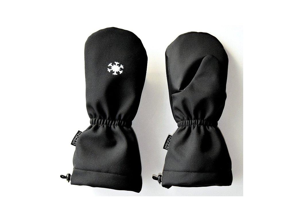PRODLOUŽENÉ softshellové rukavice s KOŽÍŠKEM - černé