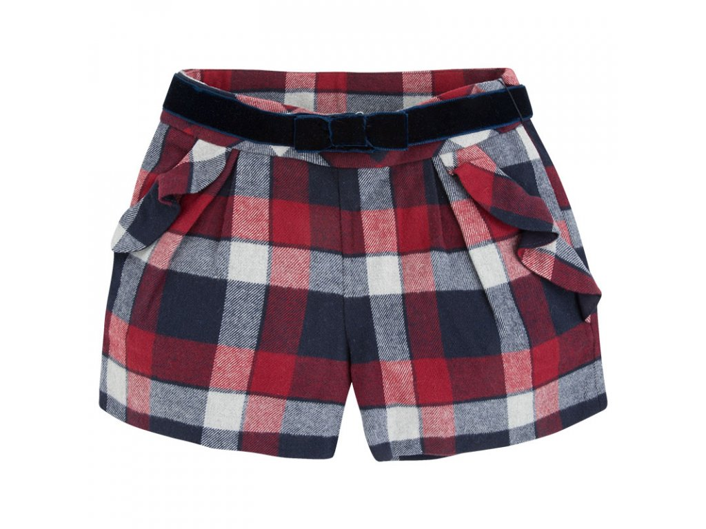 ZATEPLENÁ kalhotová sukně Mayoral - modročervená