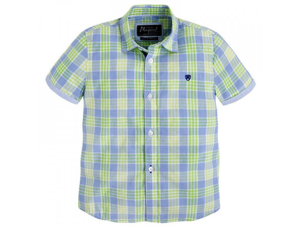 Chlapecká košile Mayoral s krátkým rukávem - zeleno-modrá
