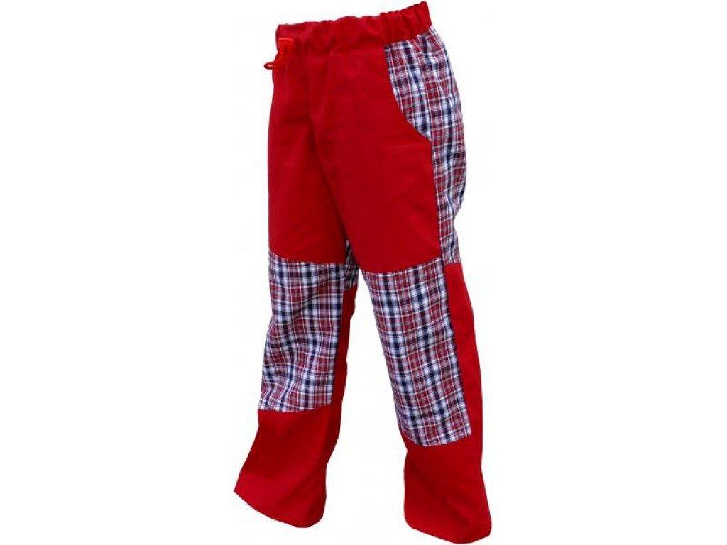 Letní dětské bavlněné kalhoty červené+červeno-modro-bílá malá kostka, vel.116