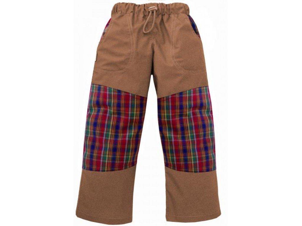 Letní dětské bavlněné kalhoty hnědé + barevná kostka,vel.104