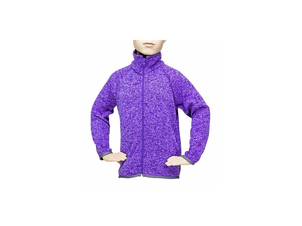 Dětský svetr na zip - FIALOVÝ MELÍR č.4