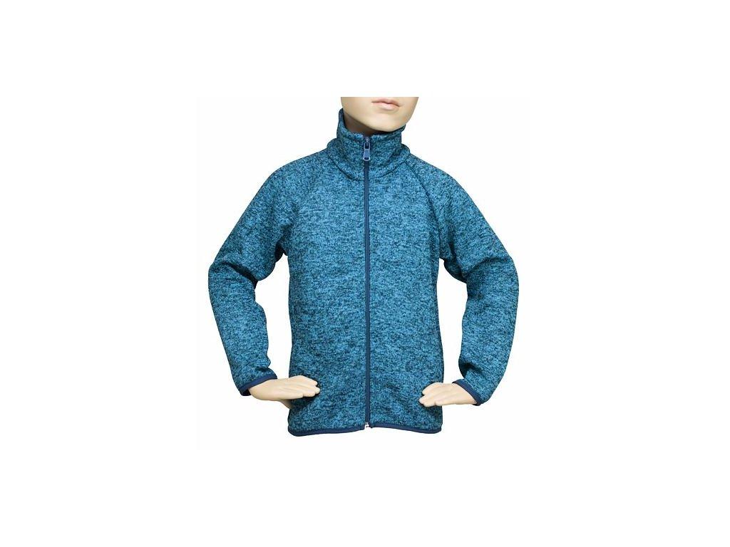 Dětský svetr na zip - PETROLEJOVÝ MELÍR č.7