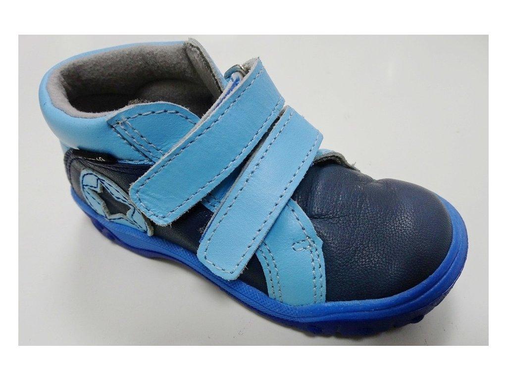 b30f1c6232f0 Dětská KOŽENÁ kotníková obuv Santé - MODRÁ - MAMIKUP