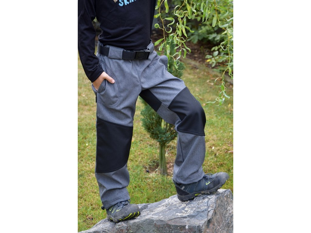 Zateplené softshellové kalhoty s CORDUROU - tmavě šedý melír