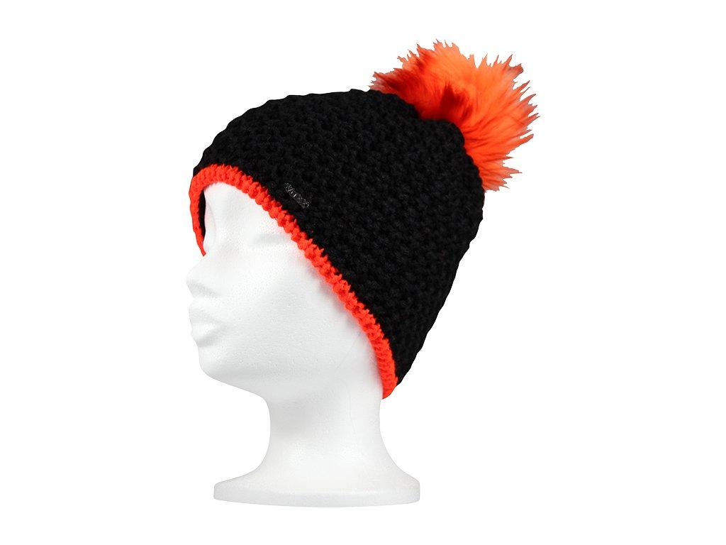 Dámská zimní čepice Voxx AZERA - černo/oranžová