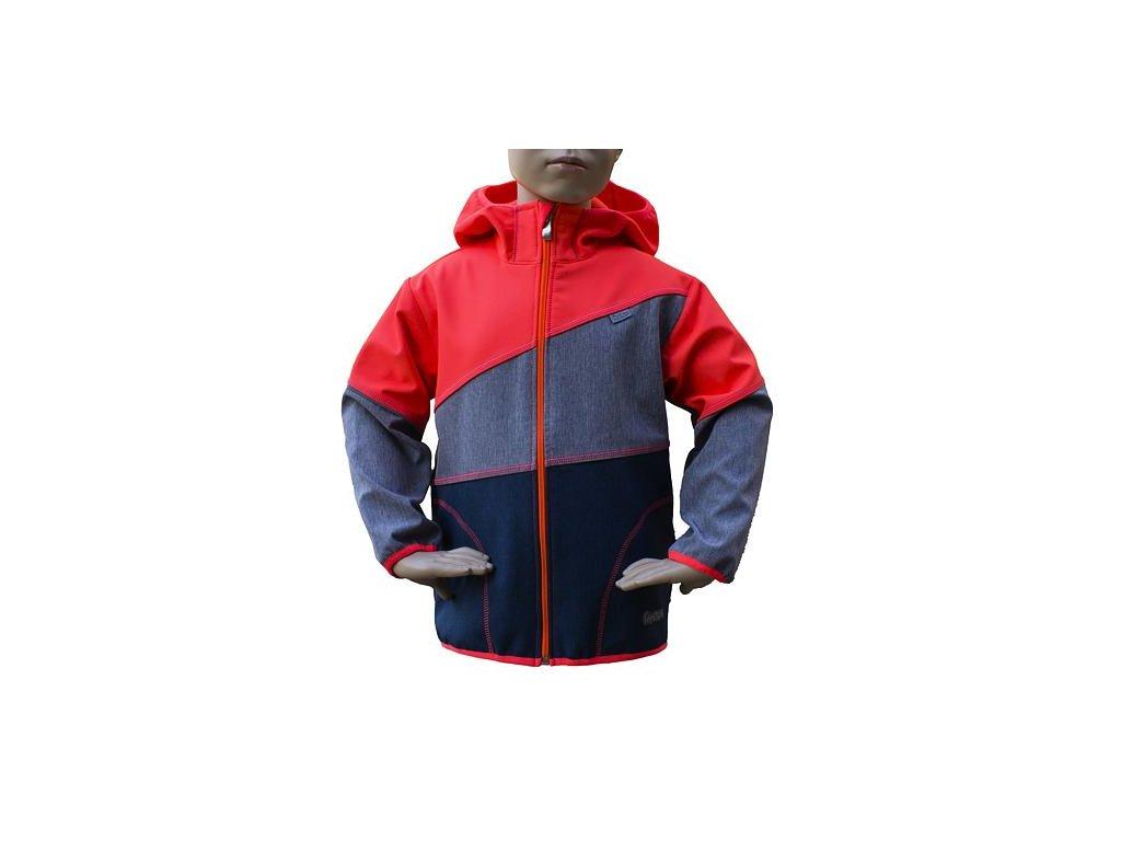 Dětská softshellová bunda 06- NEON ORANŽOVÁ - ŠEDÝ MELÍR- MODRÝ MELÍR