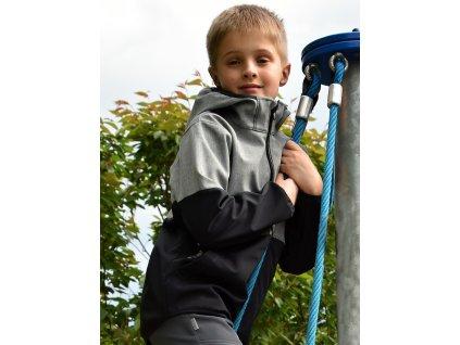 Dětská softshellová bunda DVOUBAREVNÁ - šedo černá