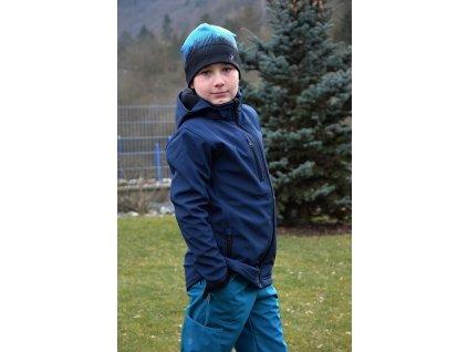 Dětská JEDNOBAREVNÁ softshellová bunda - TMAVĚ MODRÁ