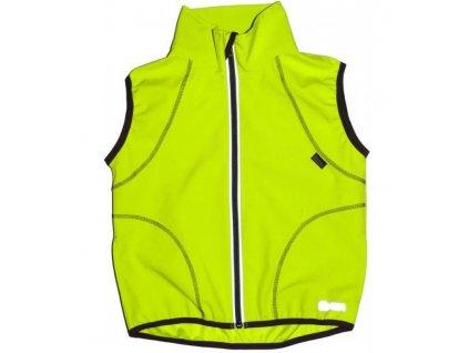 NEZATEPLENÁ dětská softshellová vesta-neonově žlutá