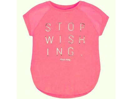 Dívčí letní tričko Mayoral s lesklým nápisem - RŮŽOVÉ