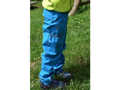 NEZATEPLENÉ softshellové kalhoty s kapsou - TYRKYSOVÉ