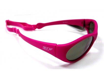 Dětské gumové sluneční brýle 3F s GUMIČKOU - růžové 1781