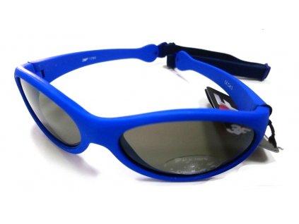 Dětské gumové sluneční brýle 3F s GUMIČKOU - modré 1780