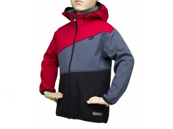 Softshellová bunda trojbarevná ČERVENÁ-ŠEDÁ-ČERNÁ