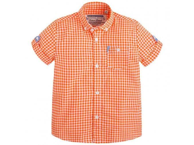 Chlapecká košile Mayoral s krátkým rukávem - oranžovo-bílá