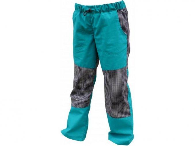 Letní BAVLNĚNÉ kalhoty s KOSTKOU - ZELENÉ+drobná černá kostka