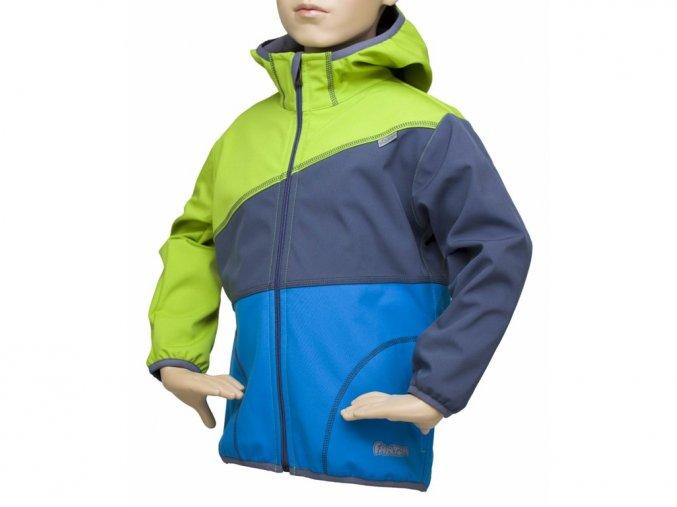Softshellová bunda trojbarevná ZELENÁ-ŠEDÁ-TYRKYSOVÁ