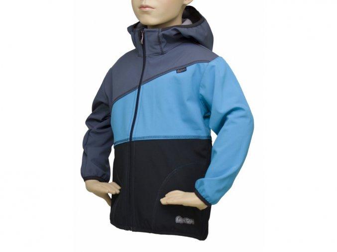 Dětská softshellová bunda 07- ŠEDÁ-TYRKYSOVÁ-ČERNÁ - DOPRODEJ