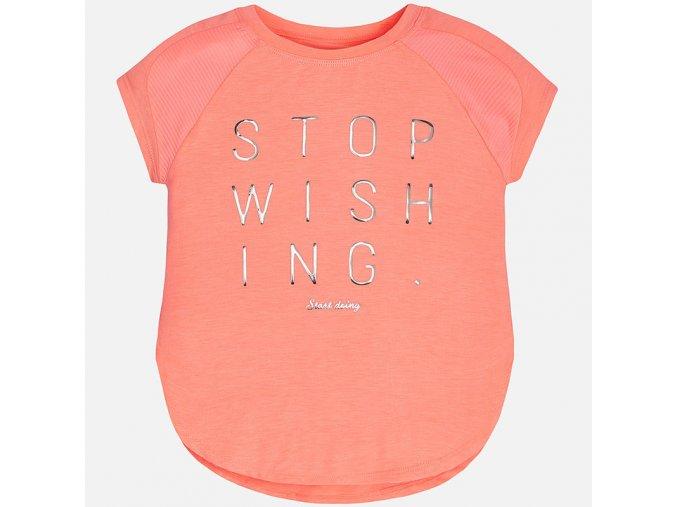 Dívčí letní tričko Mayoral s lesklým nápisem - NEONOVĚ ORANŽOVÉ
